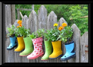 Boots Flowers Fence print