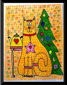 Folk Christmas Cat print by A.S. Pirozzoli