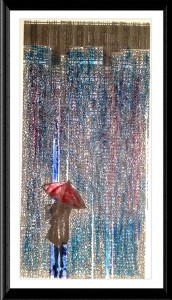 City Pattern Red Umbrella