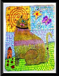 Colorful Folk Art Cat Butterfly