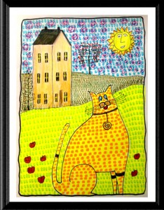 Folk Art Cat with Apples by A.S. Pirozzoli