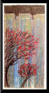 Red Trees city pattern print by A.S. Pirozzoli