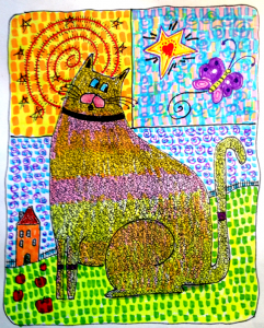 Folk Art Cat Print with Butterfly