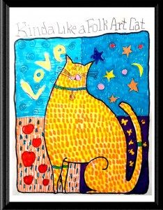Folk Art Cat Love