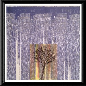 Single Tree Purple Night City print by A.S. Pirozzoli